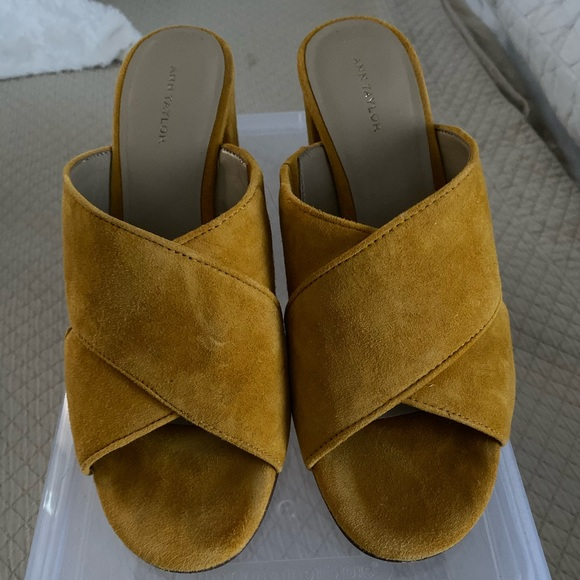Ann Taylor Shoes - Mustard suede slip on heels